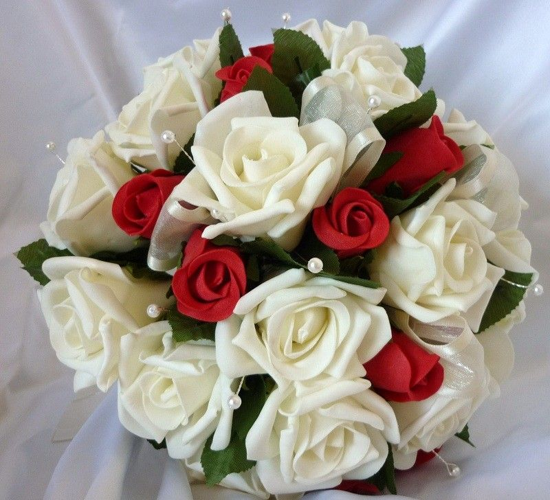 Artificial brides bouquet red ivory rose posy
