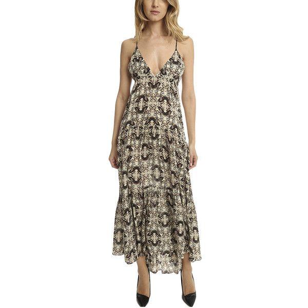 L'Agence Grace Maxi Dress ($417) ❤ liked on Polyvore featuring dresses, women, deep v-neck dress, beach party dress, brown party dress, strap dress and party dresses