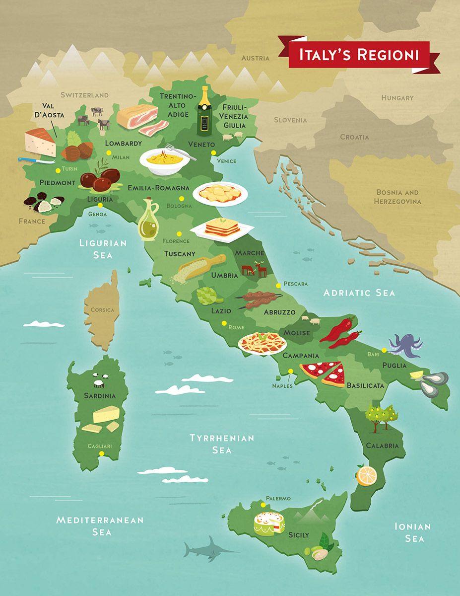 Illustrated food map of italy interesting maps of italy illustrated food map of italy gumiabroncs Images