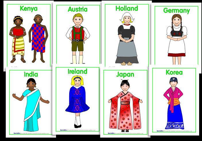 Mundo Intercultural Países Y Nacionalidades En Español: Clothes Around The World Posters (S2B179