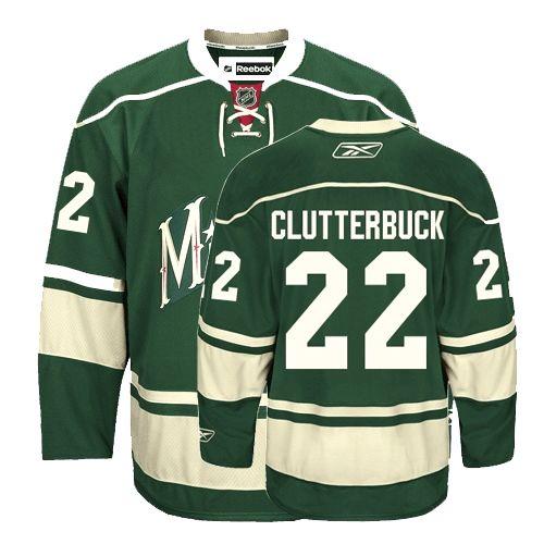 buy popular 287ef 6bfd3 NHL Minnesota Wild #22 Cal Clutterbuck Green Third Jersey ID ...
