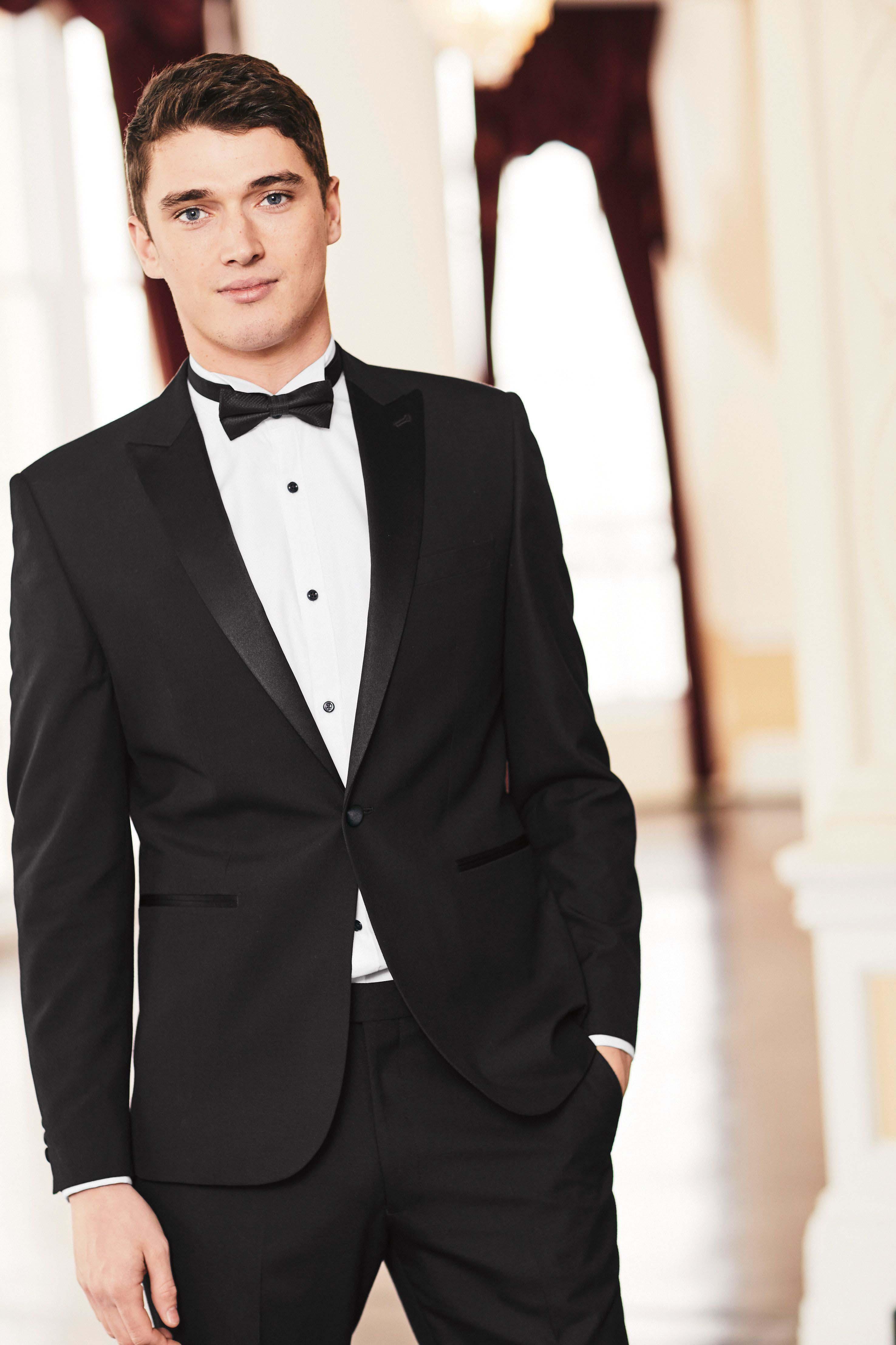 Mens Next Black Skinny Fit Wool Blend Tuxedo Suit Trousers
