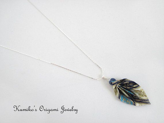 No.01758 Origami Leaf Necklace w/ Sterling by KumikosOrigami, $23.50