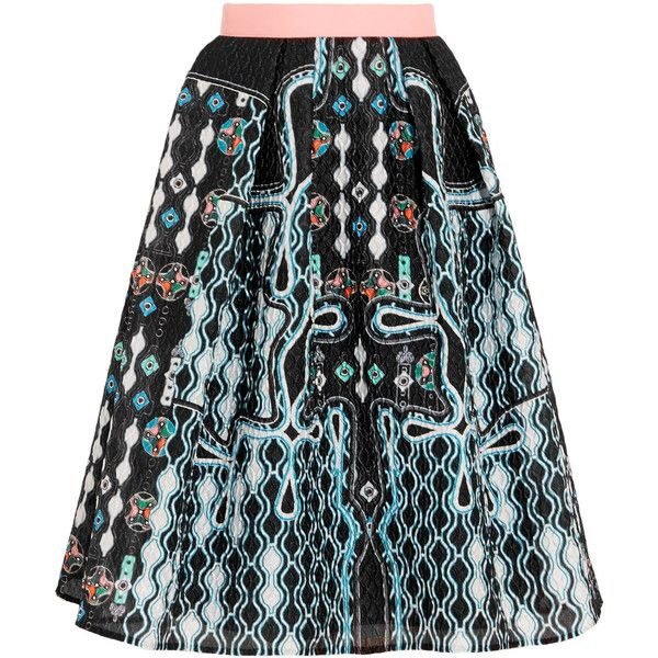 Peter Pilotto - Circle Printed Cloqué Skirt ($564) ❤ liked on Polyvore featuring skirts, black, colorful skirts, skater skirt, patterned skater skirt, flared skirt and patterned skirts