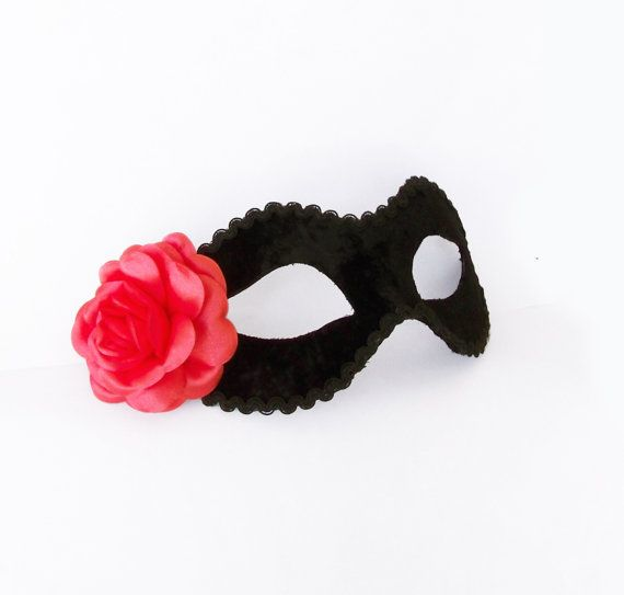 Coral Pink And Black Masquerade Mask  Velvet Covered by SOFFITTA