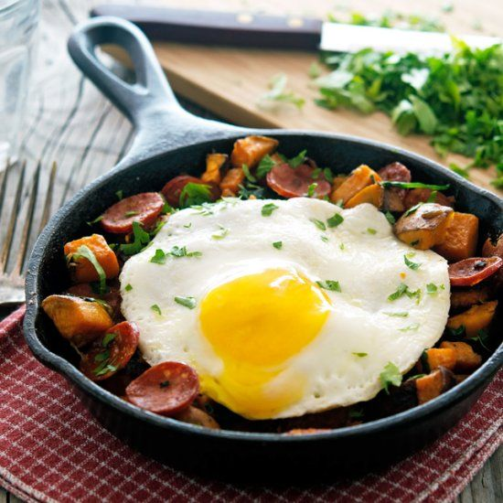 Sweet Potato, Spinach, and Chorizo Hash with Fried Eggs - Makes for an amazing breakfast, brunch, lunch or even dinner!
