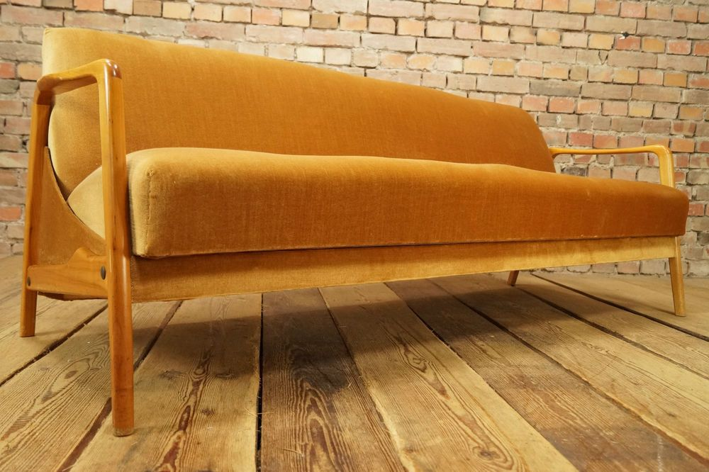 60s Vintage Sofa Daybed Danish Sofabed Bed Couch Mid Century Retro Wooden Frame Vintage Sofa Modern Sofa Bed Wooden Sofa
