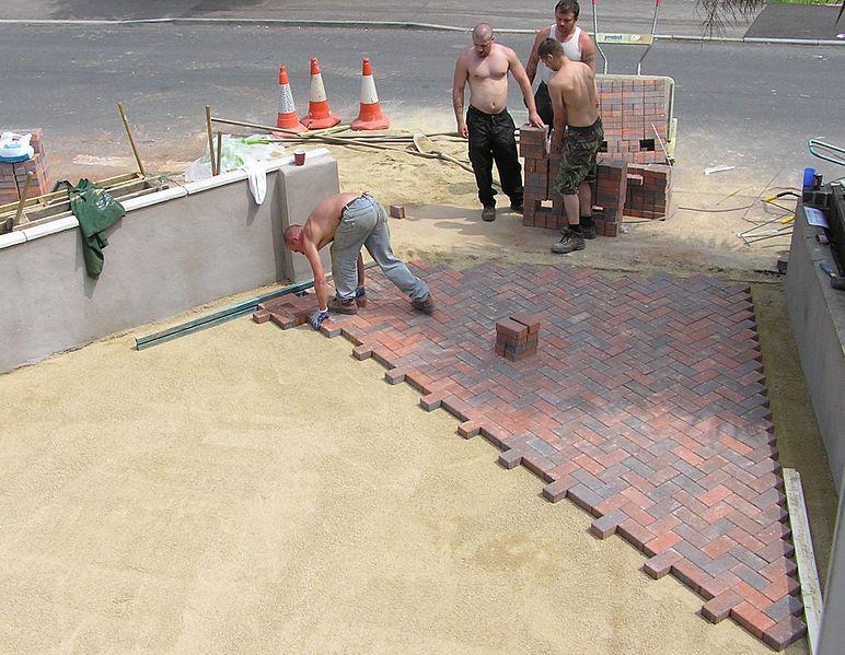 Laying Down Sandstone Pavers. Paver patio, Brick paver