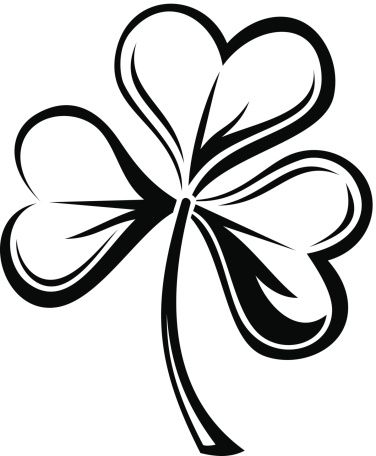 Shamrock silhouette. Vector black of isolated