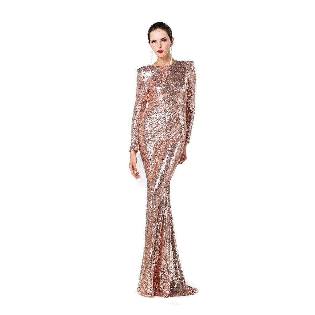 Gold Deep V Collar Long Sleeve Elastic Sequin Material Long Dress LM1070 in  2019  cfb12dfa9483