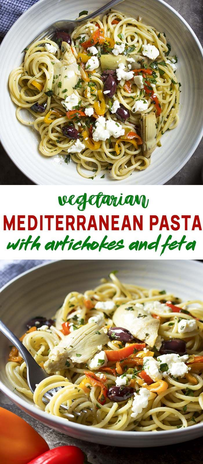Vegetarian Mediterranean Pasta with Feta and Artichokes - Just a Little Bit of Bacon