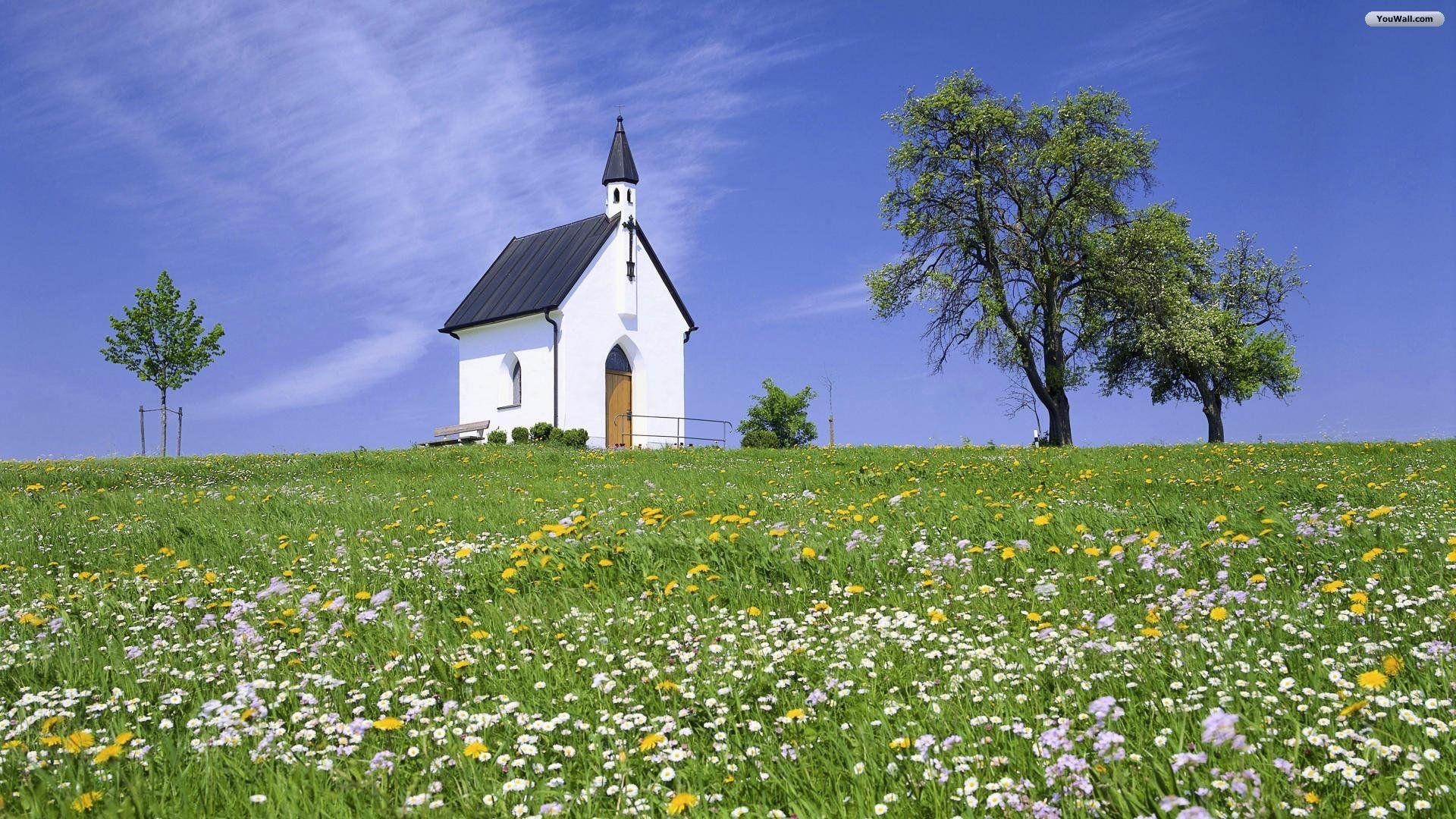 Small Church Wallpaper Country Church Church Old Churches