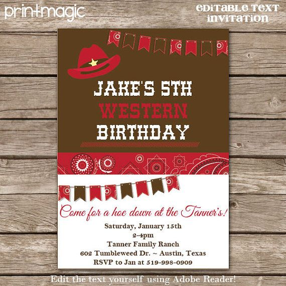 Cowboy party birthday invitation western party invitation cowboy western cowboy party birthday invitation editable by printmagic solutioingenieria Choice Image