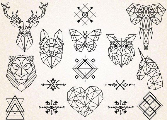 This Listing Is For An Instant Download For 15 Geometric Tatto Geometric Animals Clipart Animals Dr Geometric Animal Tattoo Geometric Animals Geometric Drawing