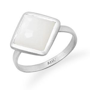 Brushed Freeform Faceted Moonstone Stackable Ring | SilverStones