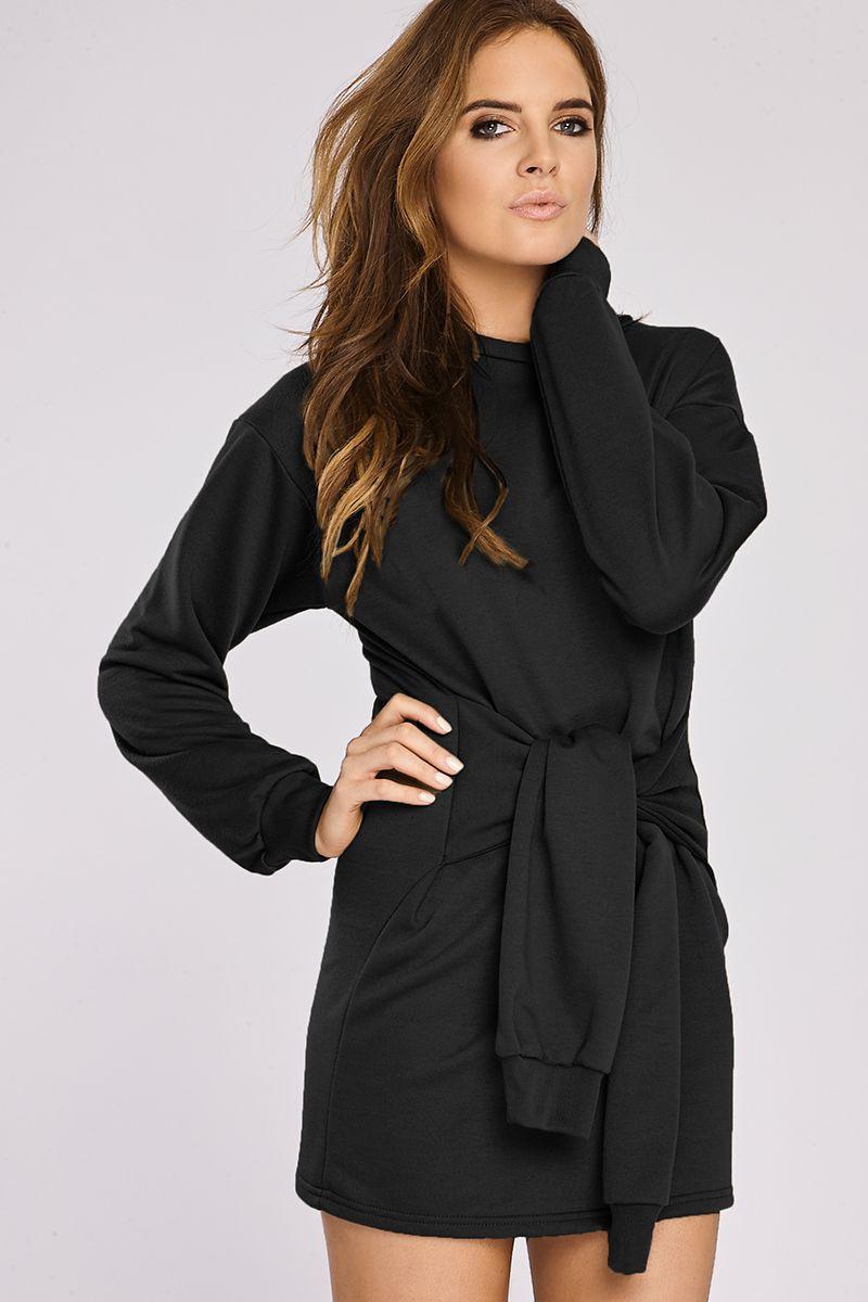 7025bae69e5 Binky Black Tie Front Sweater Dress