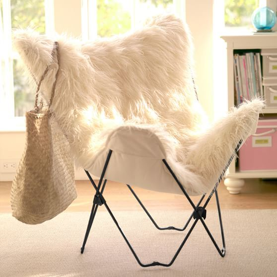 Ivory Furlicious Faux Fur Butterfly Chair Butterfly