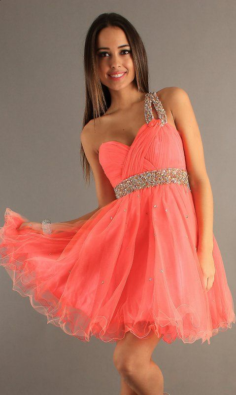coral prom dresses | ... Short Dresses :: Beaded Coral One ...