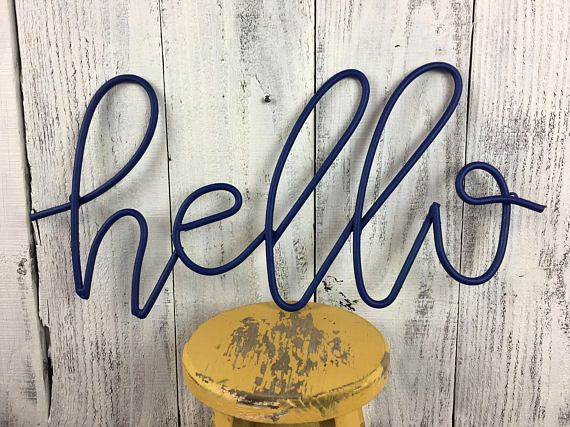 Hello Sign Navy Blue Cursive Hello Wall Hanging Gallery Wall Hello Sign Novelty Sign Gallery Wall