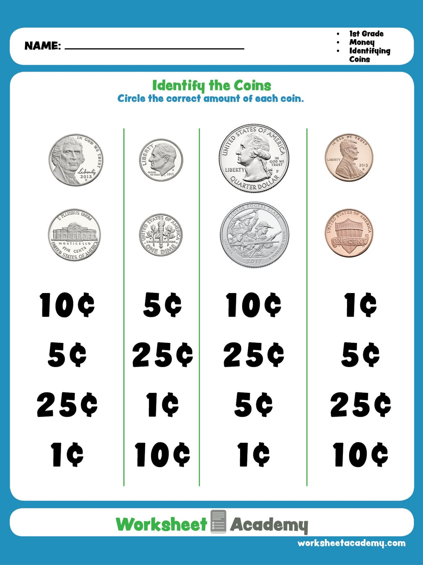 Practice Recognizing Coins This Education Worksheet Is
