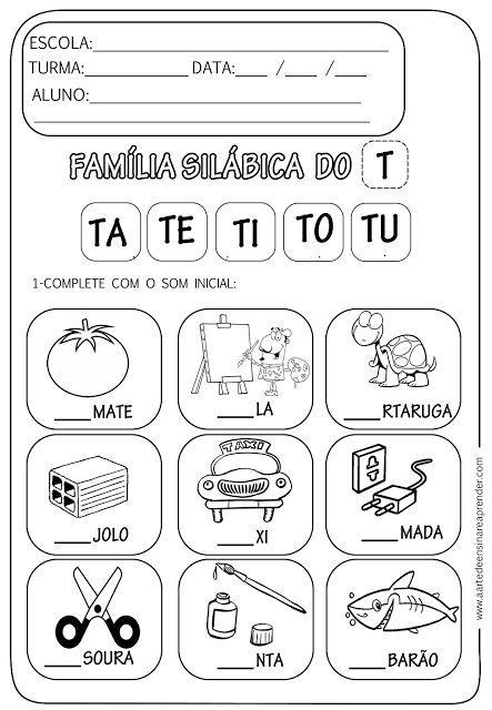Atividade Pronta Familia Silabica T Atividades Com A Letra T Atividades De Alfabetizacao Atividades Letra E