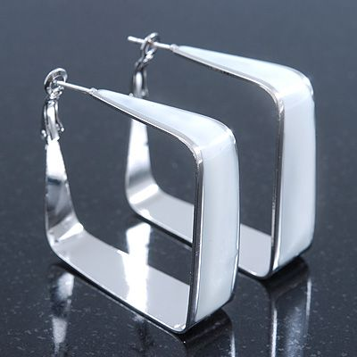 Contemporary Square White Enamel Hoop Earrings In Rhodium Plating 40mm Width