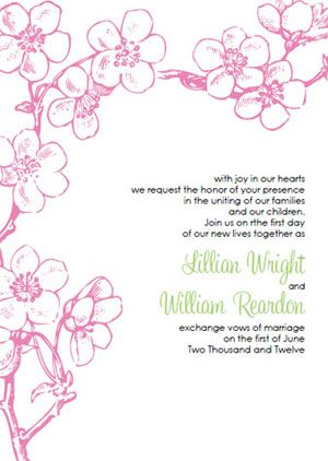 Invitations. Vintage Pink Cherry Blossom Invitation Template Kit ...