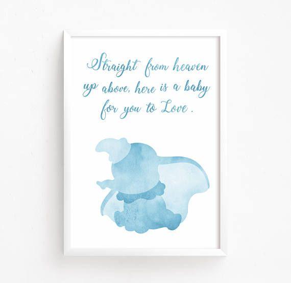 Dumbo Watercolor Printable Disney Quote Nursery Elephant Poster Art New Dumbo Quotes