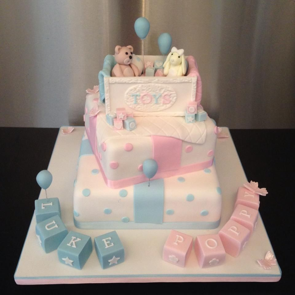 Cake Ideas For Boy Girl Twins : Christening, Baby Shower and Gender Reveal Cakes ...