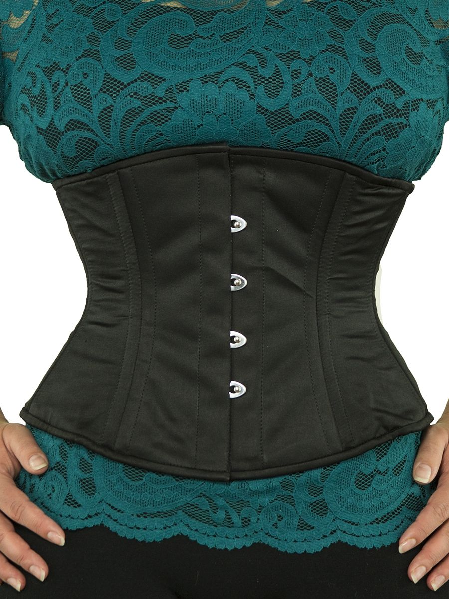f762888ad1 waist trainer cs 411 black satin corset front