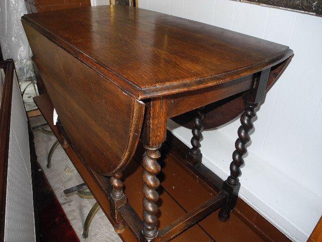 Aardvark Antiques & Estate Liquidations: Antique Oak Barley Twist Drop Leaf Gate Leg Oval Dining Table, Circa 1920