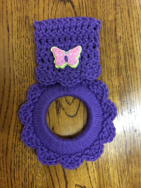 Butterfly Kitchen Towel Hanger Purple Towel By Yarnhotoffthehook