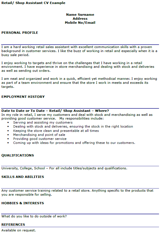 Retail Assistant Cv Example Projects To Try Cv Examples