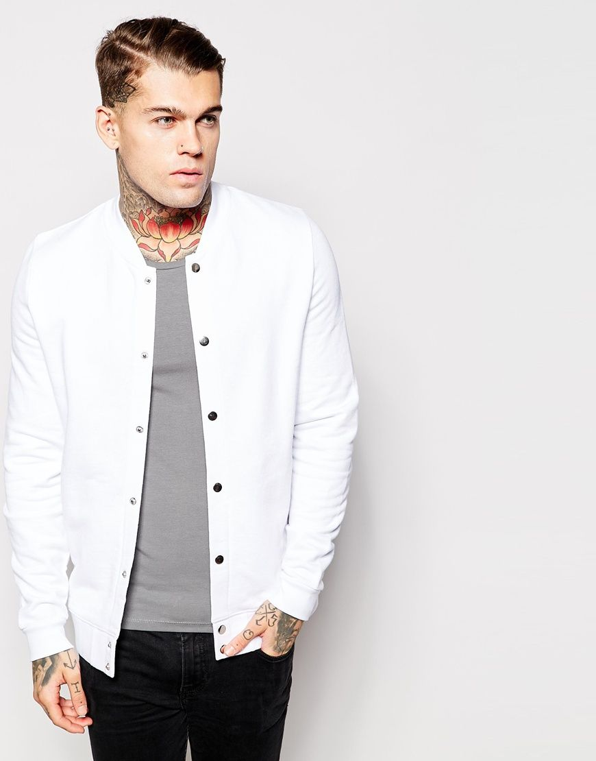 ASOS Bomber With Snaps In White