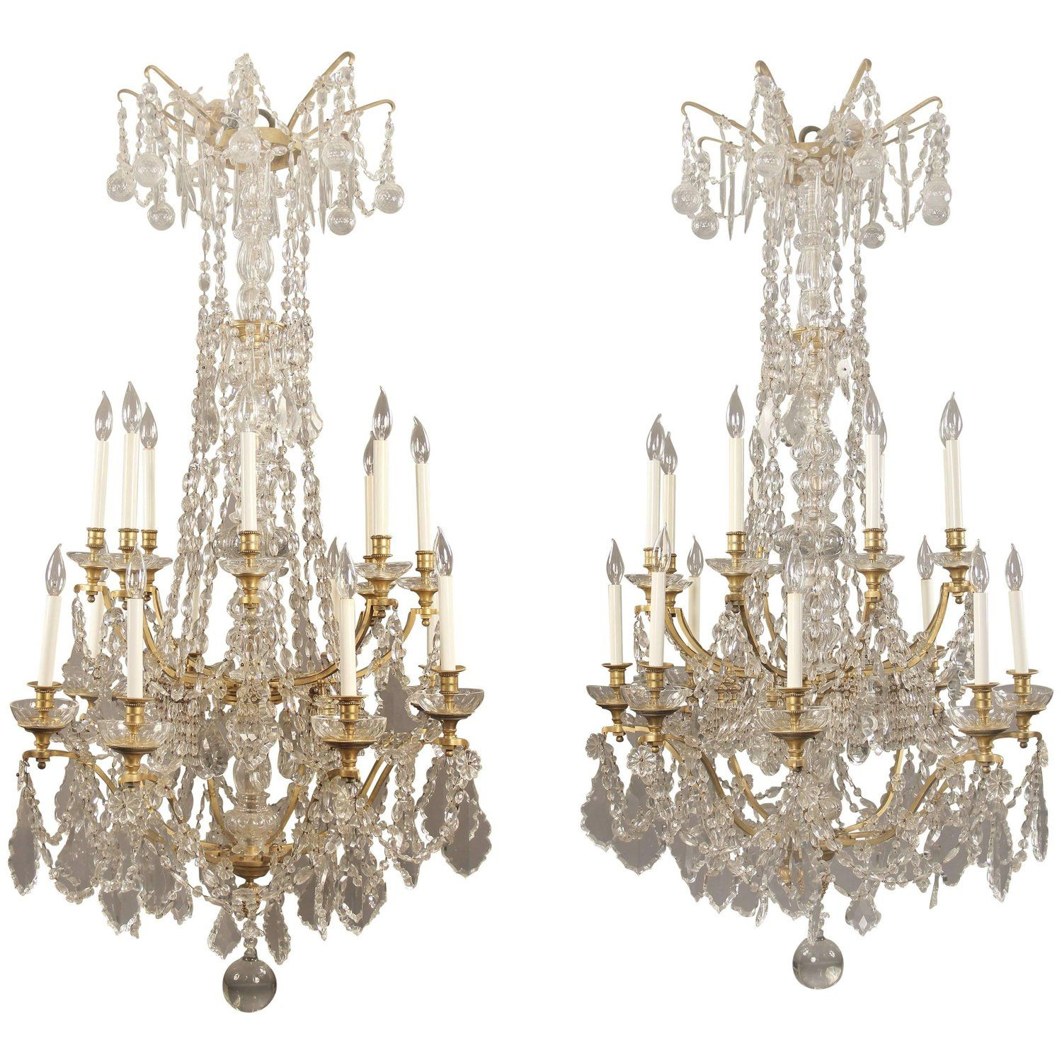 Fine and palatial pair of late th century gilt bronze and crystal