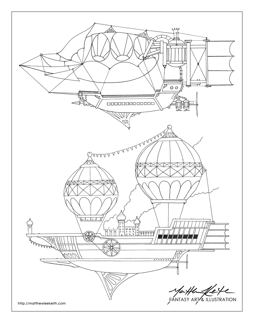 "Original airship designs. ""Fighter"" and ""Carrier"" models represented."