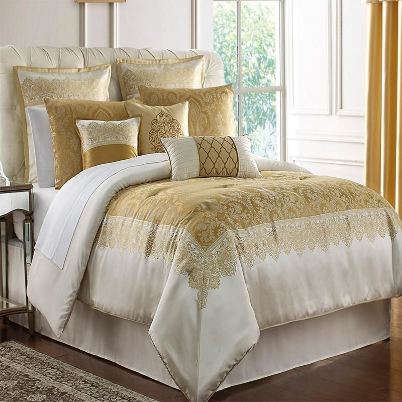 Russell Gold Square 4 Piece Comforter Set Comforter Sets Queen