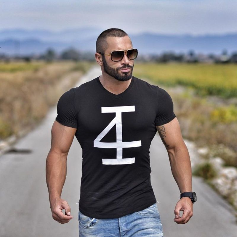 7fbd8c1fc2 4INVICTUS Brand men's t-shirt Fitness and bodybuilding Short sleeve t shirts  Fashion Muscle Men Slim fit personality tees tops