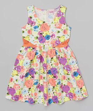 Another great find on #zulily! Purple & Yellow Floral Dress - Girls by Lipstik Girls #zulilyfinds