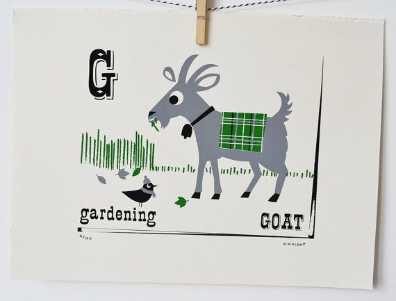 Gardening Goat Limited Edition Alphabet Screen Print