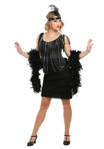 0434be89af Swing back to the 20s in this womens 1920s black fringe flapper girl costume.  The vintage 20 s dress features lines of fringe and is perfect with our ...