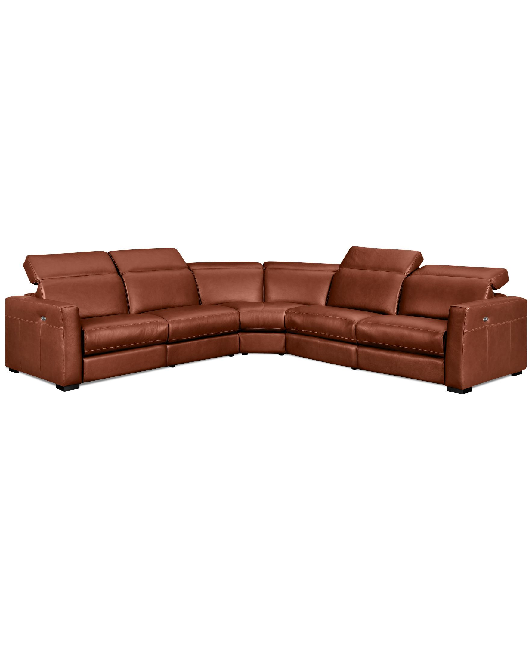 Nicolo 5 pc Leather Sectional Sofa with 3 Power Recliners with