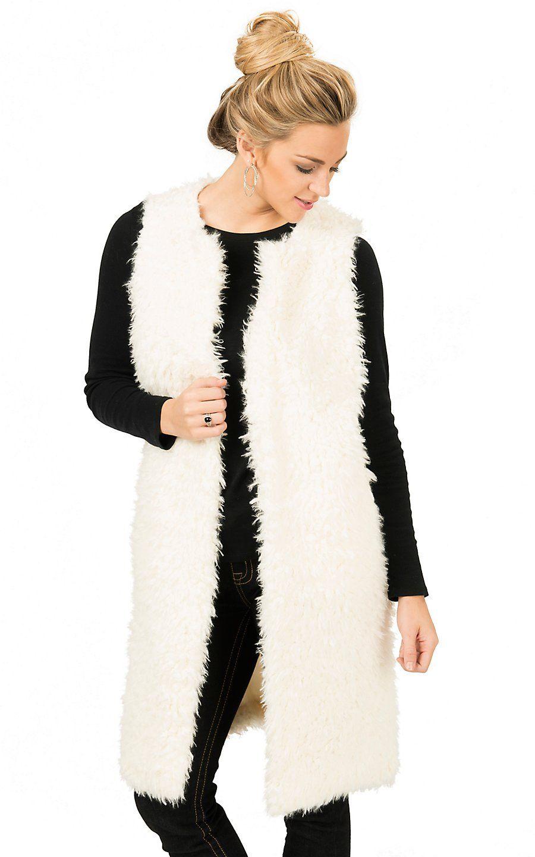 Double Zero Women's Off White Long Faux Fur Vest | Cavender's ...