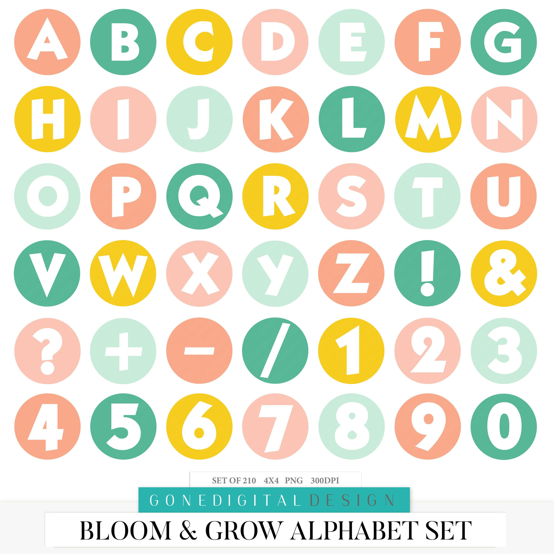 Bloom Grow Spring Alphabet Clipart Spring Download Scrapbooking