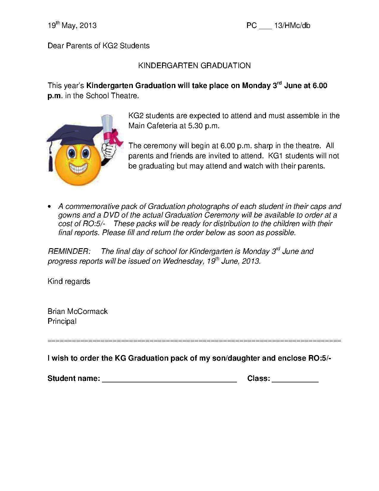 Graduation Letter For Kindergarten