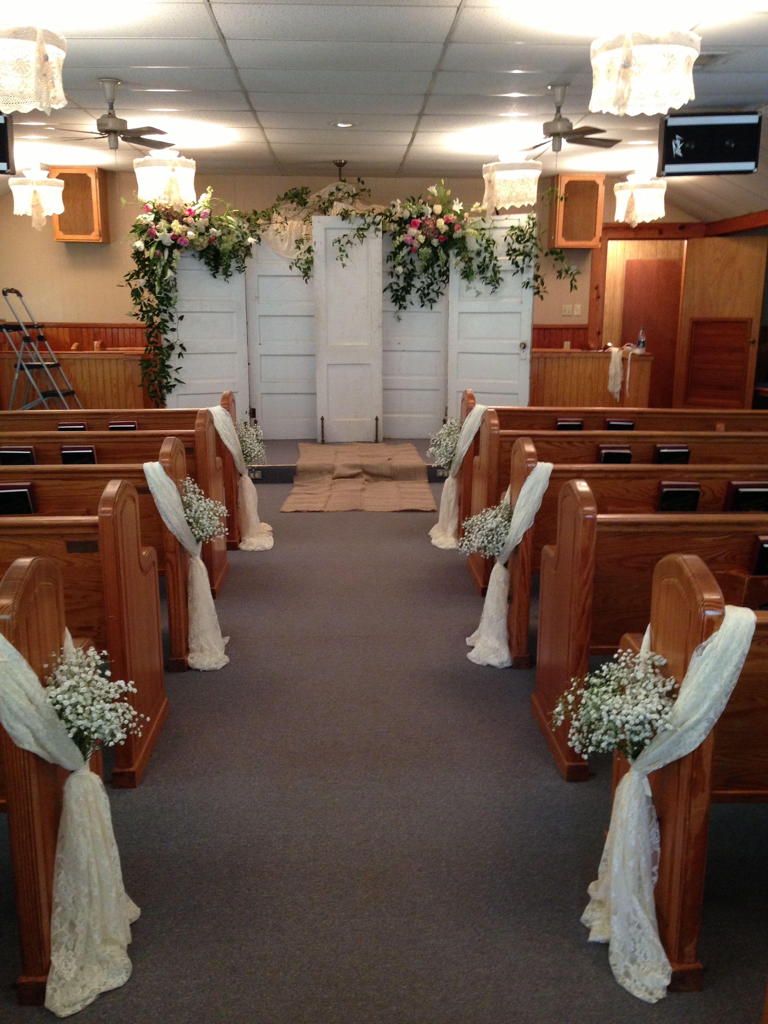 Wedding flower decoration images  I like the things on the pews that would be an easy church