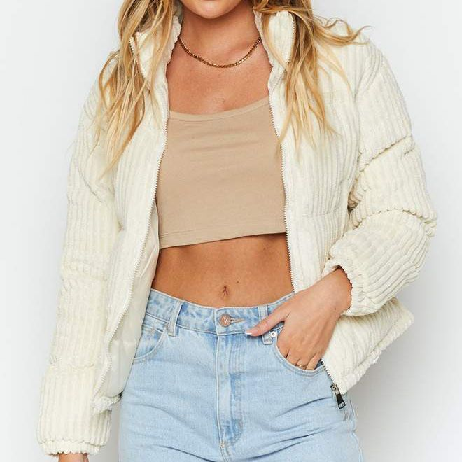 Stand Up Cord Puffer Jacket-Cream – W.T.I. Design in 2020 ...