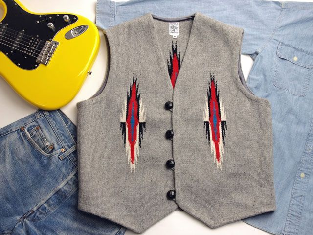 オルテガ 手織りチマヨ・ベスト 83RG-4613 サイズ46 ヘザーグレー アメリカ製
