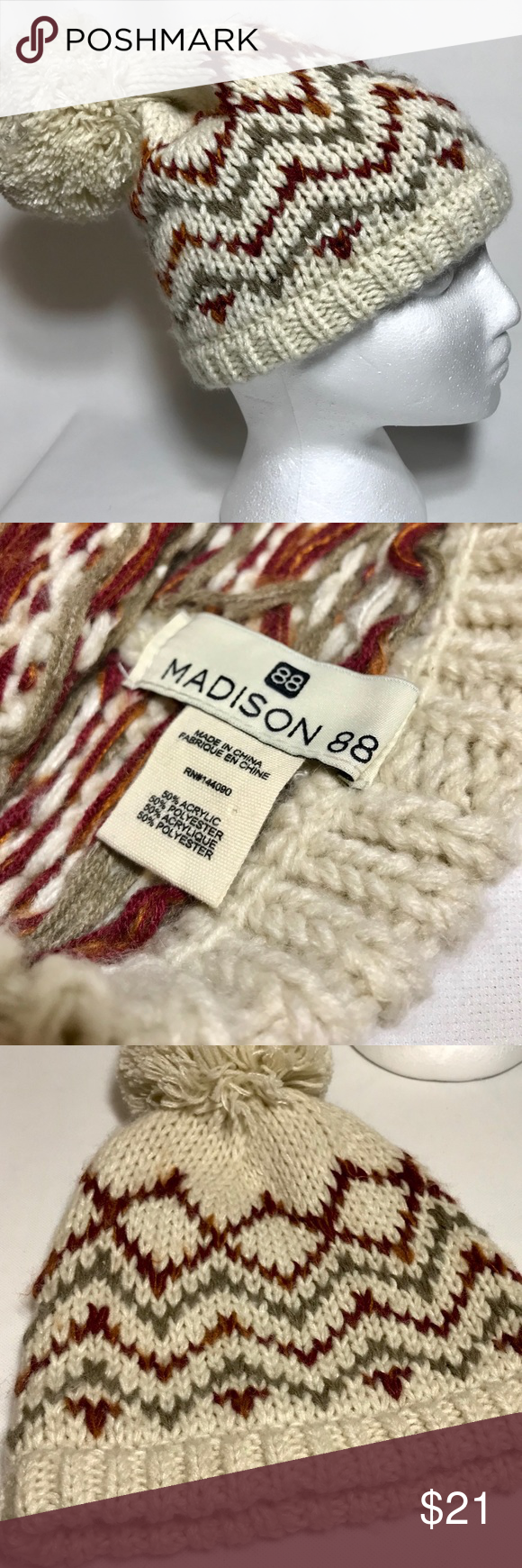 9079e51d39256 Madison 88 Women s Winter Beanie Hat Madison 88 Women s Beanie topped with  Pom Accent Zigzag print