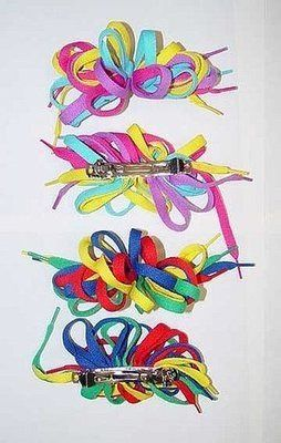 shoelace hair clips '80s